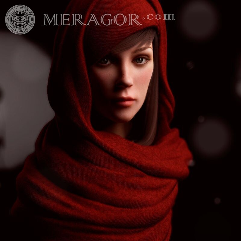 Girl in a hood for icon download